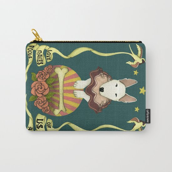 love makes fools of us- bull terrier portrait Carry-All Pouch