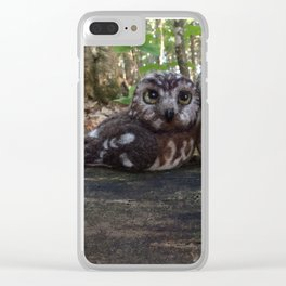 Northern Saw Whet Owls - Needle Felted Sculptures Clear iPhone Case