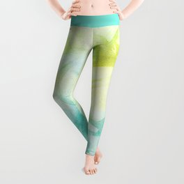 Abstract lime green teal hand painted watercolor pattern Leggings