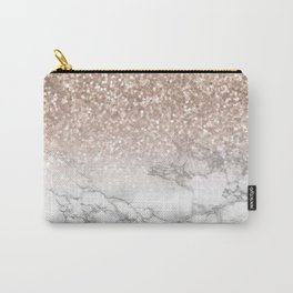 She Sparkles - Rose Gold Glitter Marble Carry-All Pouch