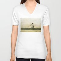 ufo V-neck T-shirts featuring UFO by PeDSchWork