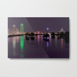 Lights of Dallas, Texas Skyline over Flooded Trinity River Basin Metal Print