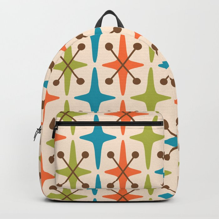 Mid Century Modern Abstract Star Pattern 441 Orange Brown Turquoise Chartreuse Backpack