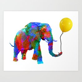 Crayon Colored Elephant with Yellow Balloon Art Print