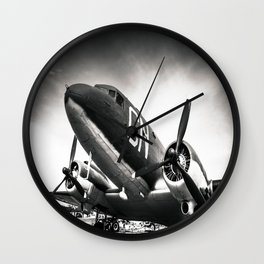 C-47D Skytrain Black and White Wall Clock