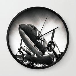 C-47D Skytrain Black and White Wall Clock