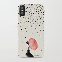 her iPhone & iPod Cases featuring Polka Rain by Karen Hofstetter