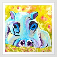 hippo Art Prints featuring Hippo by Mandy Kopelke Art