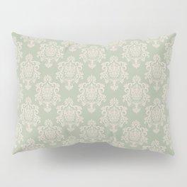 Sage Green and Cream Damask Pattern Pillow Sham