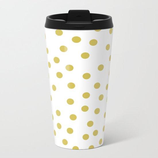 Simply Dots in Mod Yellow on White Metal Travel Mug