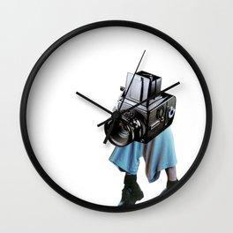 Shooting head vintage camera Wall Clock