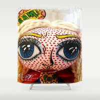 supergirl Shower Curtains featuring Supergirl by Chiara Venice Art Dolls