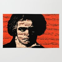 beethoven Area & Throw Rugs featuring A Clockwork Beethoven  by brett66