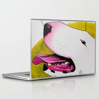 bull terrier Laptop & iPad Skins featuring Bull Terrier by Erin Shea