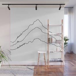 Tallest Mountains in the World B&W / Mt Everest K2 Kanchenjunga / Minimalist Line Drawing Art Print Wall Mural