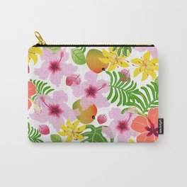 Tropical hibiscus and mango pattern Carry-All Pouch