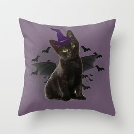 Spooky black Cat Throw Pillow