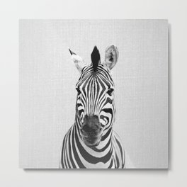 Zebra - Black & White Metal Print