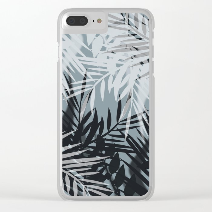 Gray Leaves pattern . Clear iPhone Case