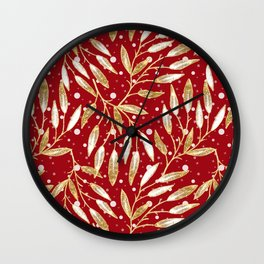 Christmas colorful pattern. Gold sprigs on a red background. Wall Clock