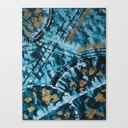 Turquoise and Gold Abstract Painting Canvas Print