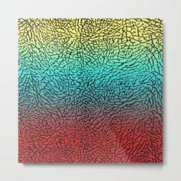 Gold/Blue/Red Elephant Skin Metal Print