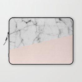 Real White marble Half Salmon Pink Laptop Sleeve