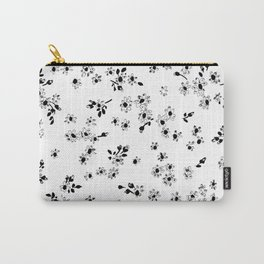 Fashion Floral design Black&White print Flower Carry-All Pouch