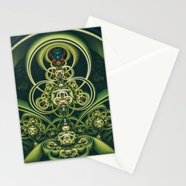 Time Shell IV. Green Abstract Geometry Stationery Cards