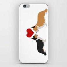 Pembroke Welsh Corgi Dogs Art - two corgis in love iPhone & iPod Skin