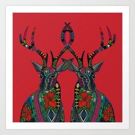 poinsettia deer red Art Print