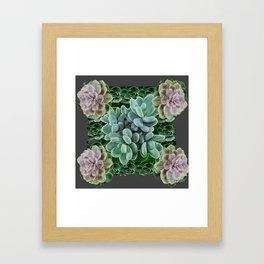 GARDEN OF GRAY-GREEN PINK SUCCULENTS Framed Art Print