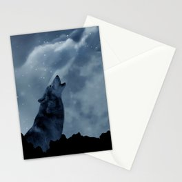 Wolf howling at full moon Stationery Cards