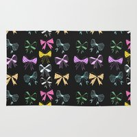 bow Area & Throw Rugs featuring Bow Print by minniemorrisart