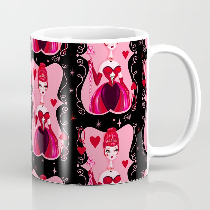 Queen of Hearts on Black Coffee Mug