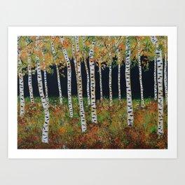 Aspen Birch Trees, Landscape Painting, Autumn Colors, Rustic Home Decor Art Print