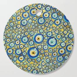Greek Blue Glass Evil Eye Amulet Pattern Cutting Board