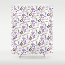 Wood Blewits and Pine Light Pattern Shower Curtain