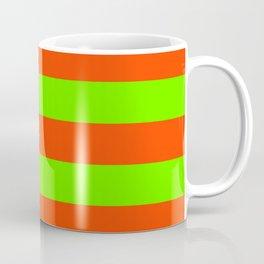 Bright Neon Green and Orange Horizontal Cabana Tent Stripes Coffee Mug