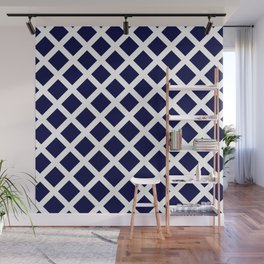 Dark Navy Blue and White Grill Pattern Wall Mural