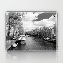 Boats on Amsterdam canal Laptop & iPad Skin