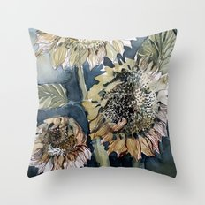 Three Sunflowers Throw Pillow