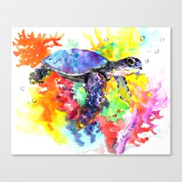 Sea Turtle in Coral Reef design, sea world colorful coral sea world design Canvas Print