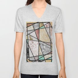 Pink yellow watercolor hand painted zigzag pattern Unisex V-Neck