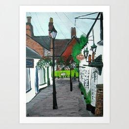 Little Church Lane Cafes, Tamworth, Staffordshire, England, Acrylics On Canvas Art Print