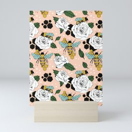 Bees on the flowers Mini Art Print