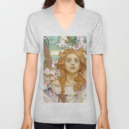 "Alphonse Mucha ""Maude Adams (1872–1953) as Joan of Arc"" Unisex V-Neck"