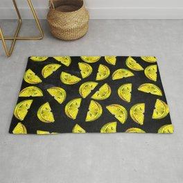 Lemon Slices Pattern Chalkboard Rug
