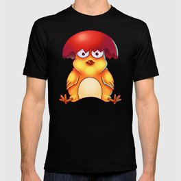 Easter Chicken with Egg Shell on its Head - Digital Painting T-shirt