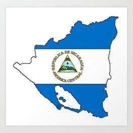 Nicaragua Map with Nicaraguan Flag Art Print